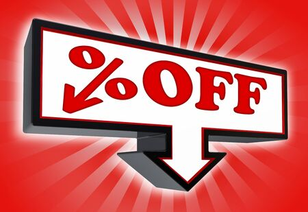 percent off price sign with arrow down red and black on red striped background  clipping path included  Stock Photo - 19022424