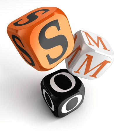 social media optimization orange black dice blocks on white background  clipping path included Stock Photo - 19022420