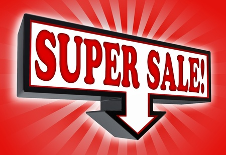 super sale pricetag sign with arrow down red and black on red striped background  clipping path included  Stock Photo - 19022431