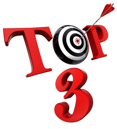 top 3 red word with target isolated on white background  clipping path included photo
