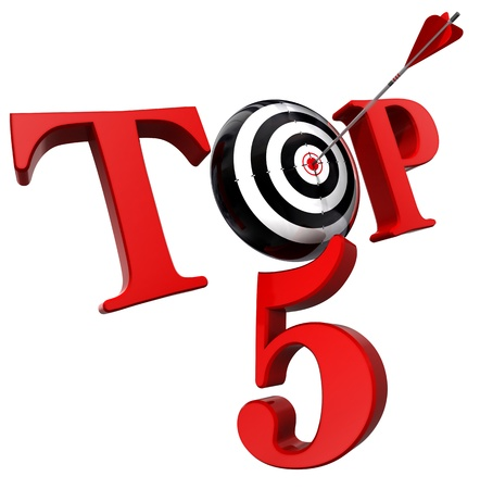top 5 red word with target isolated on white background