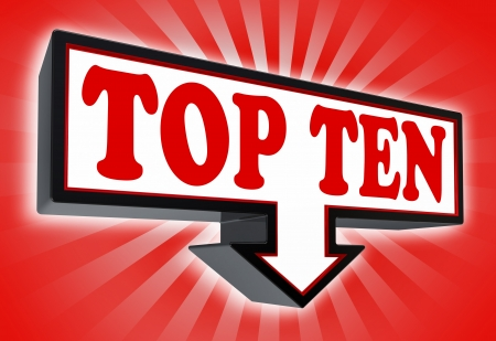top rated: top ten sign with arrow down red and black on red striped background  clipping path included  Stock Photo