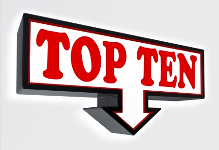 top ten arrow sign red and black on red background  clipping path included Stock Photo - 19022365