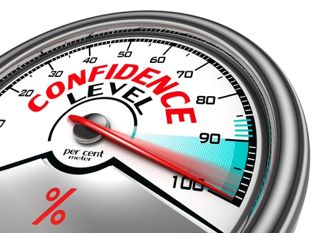confidence level conceptual meter indicating hudrend per cent. isolated on white background Stock Photo