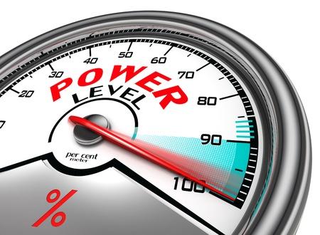 maximum: power level conceptual indicator meter isolated on white background Stock Photo