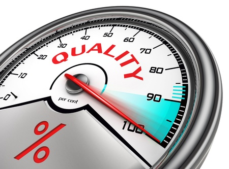 quality meter hundred per cent isolated on white background photo