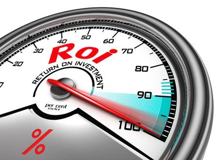 retour: return on investment procent meter geà ¯ soleerd op witte achtergrond