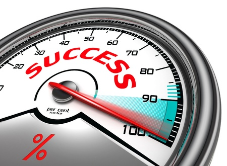 work in progress: success conceptual meter hundred per cent isolated on white background