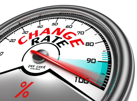 change rate conceptual meter indicate hundred per cent, isolated on white background Stock Photo - 19912676