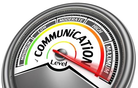 communication level meter indicate maximum, isolated on white background