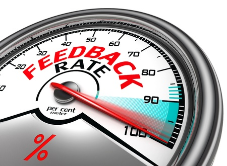 feedback button: feedback rate meter indicate hundred per cent, isolated on white background