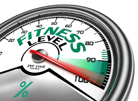 athletic body: fitness level conceptual meter indicate hundred per cent, isolated on white background
