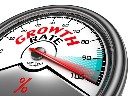 rating meter: growth rate meter indicate hundred per cent, isolated on white background