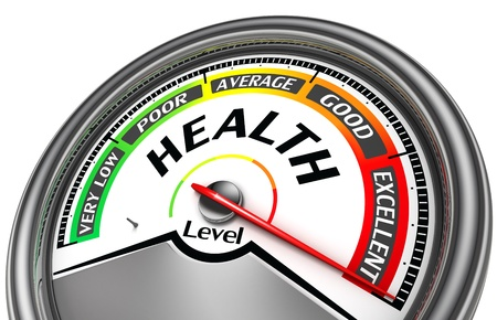 poor health: health level conceptual meter indicate excellent, isolated on white background Stock Photo