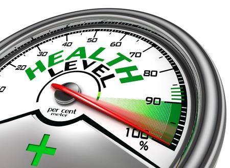 signos vitales: nivel de salud metros conceptual indica al cien por ciento, aislados en fondo blanco