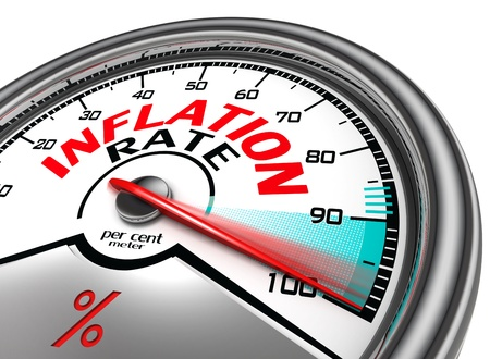 inflation rate conceptual meter indicate hundred per cent, isolated on white background Stock Photo - 19912678