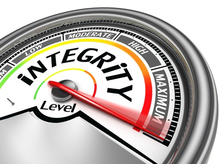 indicate: integrity conceptual meter indicate maximum, isolated on white background Stock Photo