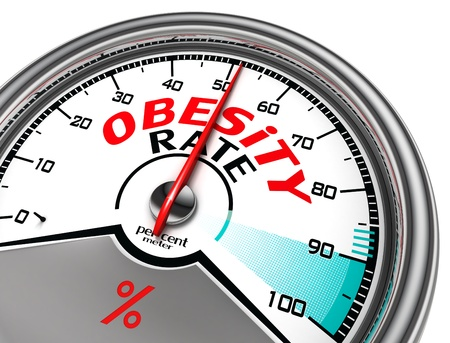 gain: obesity rate conceptual meter isolated on white bacckground Stock Photo