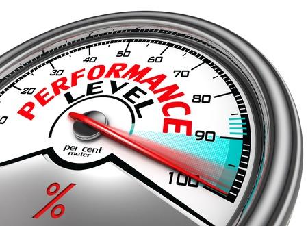 l'indicateur de niveau conceptuel de la performance indiquent cent pour cent, isolé sur fond blanc Banque d'images