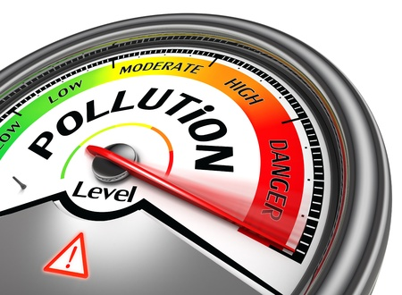 pollution level conceptual meter, isolated on white background photo