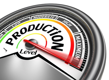 maximum: production conceptual meter indicate maximum, isolated on white background Stock Photo
