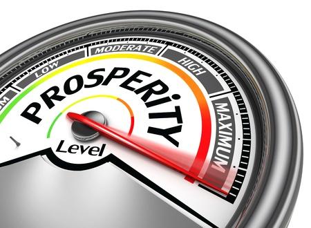 maximum: prosperity conceptual meter indicate maximum, isolated on white background