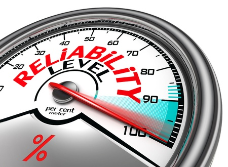 reliability: reliability level conceptual meter indicate hundred per cent, isolated on white background
