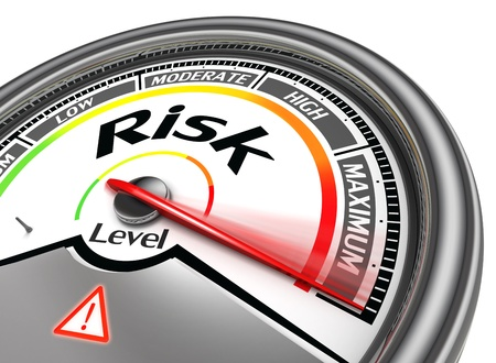 design bad: risk level conceptual meter, isolated on white background