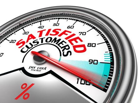 clients satisfaits des compteurs conceptuel indiquant cent pour cent, isolé sur fond blanc Banque d'images