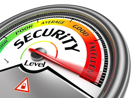 cyber security: security level conceptual meter isolated on white background Stock Photo