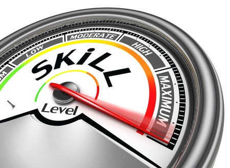 expertise concept: skill level conceptual meter indicate maximum, isolated on white background Stock Photo