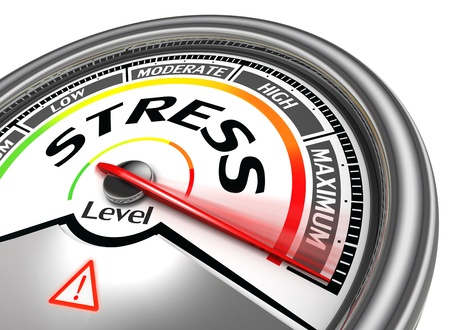 emotional stress: stress level conceptual meter indicating maximum, isolated on white background