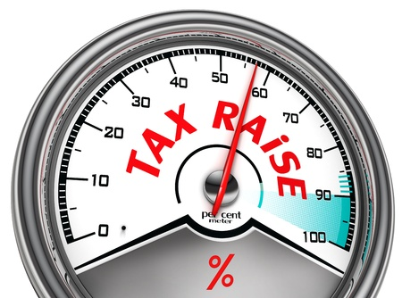 raise: tax raise conceptual meter isolated on white background