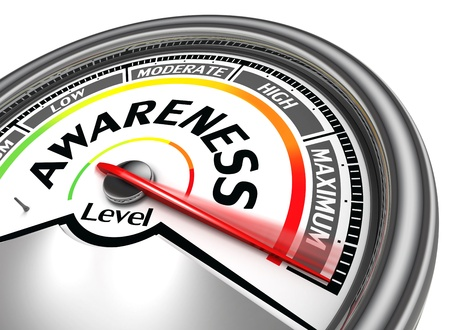 awareness: awareness level conceptual meter, isolated on white background