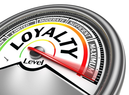 loyalty: loyalty level conceptual meter indicate hundred per cent, isolated on white background