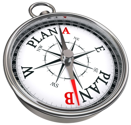 plan b direction conceptual compass, isolated on white background photo