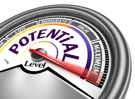persoonlijke groei: potentiële niveau conceptuele meter, geïsoleerd op witte achtergrond
