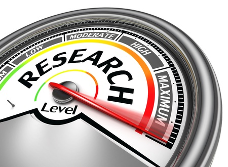 market research: research conceptual meter, isolated on white background