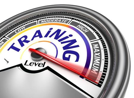 maximum: training level conceptual meter indicate maximum, isolated on white background