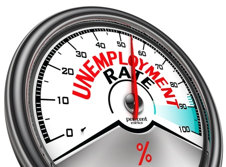 unemployed: unemployment rate conceptual meter, isolated on white background Stock Photo