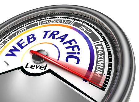 verhogen: webverkeer conceptuele meter aangeven maximum, geïsoleerd op witte achtergrond