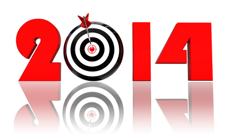 2014 new year and conceptual target with arrow in white background. clipping path included photo