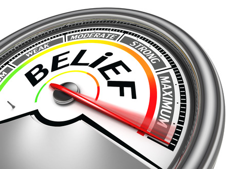 beliefs: belief conceptual meter indicate maximum, isolated on white background