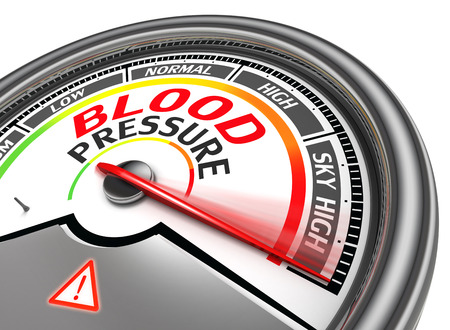 indicate: blood pressure conceptual meter indicate sky high, isolated on white background