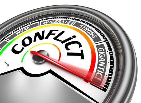 mètre conceptuel des conflits, isolé sur fond blanc