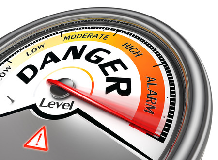 risk warning: danger level conceptual meter indicate hundred per cent, isolated on white background Stock Photo