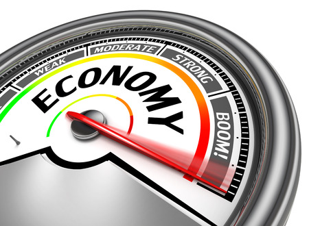 moderate: economy conceptual meter, isolated on white background
