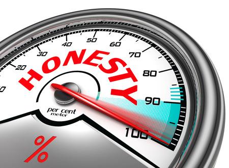 honestidad: honestidad por metro ciento indica al cien por ciento, aislados en fondo blanco