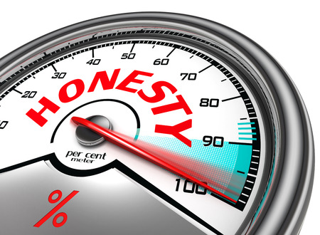 honesty: honesty per cent meter indicate hundred per cent, isolated on white background