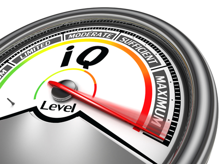 iq conceptual meter indicate maximum, isolated on white background Фото со стока